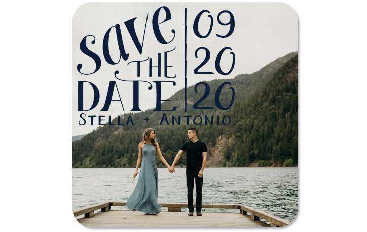 save the date wedding coaster with engagement picture