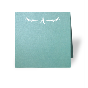 Our custom Stardream Chambray Classic Place Card with Matte White Foil has a Leaf Single Initial graphic and is good for use in Floral, Greens themed parties and are a must-have for your next event—whatever the celebration!