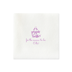 ForYourParty's personalized Honeydew Cocktail Napkin with Satin Plum Foil Color has a Poppin Bottles graphic and is good for use in Words, Baby Shower themed parties and will add that special attention to detail that cannot be overlooked.