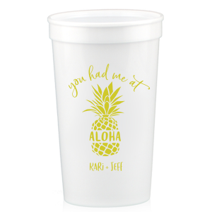 Our personalized White 16 oz Stadium Cup with Matte Chartreuse Ink Cup Ink Colors has a Aloha graphic and is good for use in Words, Travel, Home themed parties and will impress guests like no other. Make this party unforgettable.