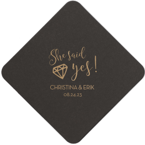 ForYourParty's elegant White Square Coaster with Shiny Champagne Foil has a Diamond graphic and is good for use in Wedding, Bridal Shower themed parties and can be customized to complement every last detail of your party.