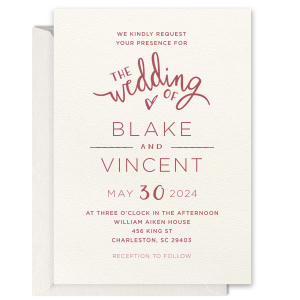 Wedding Of Letterpress Invitation