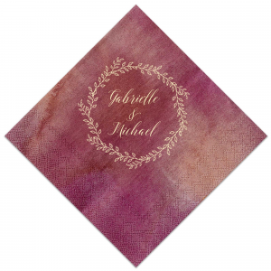 Our custom Marble Sand Cocktail Napkin with Shiny Leaf Foil has a Rustic Wreath graphic and is good for use in Frames, Wedding, Anniversary themed parties and couldn't be more perfect. It's time to show off your impeccable taste.