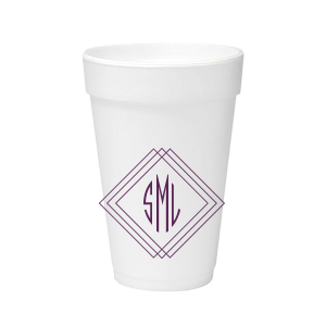 ForYourParty's elegant Matte Eggplant Ink 16 oz Styrofoam Cup with Matte Eggplant Ink Cup Ink Colors has a Diamond Frame graphic and is good for use in Home, Wedding and Anniversary themed parties and will impress guests like no other. Make this party unforgettable.