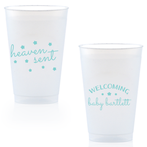 The ever-popular 9 oz Frost Flex Cup with Matte Tiffany Blue Ink will impress guests like no other. Make this party unforgettable.