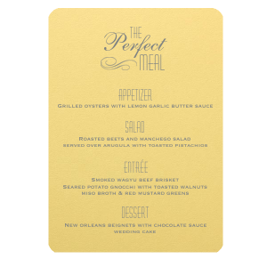 Our custom Poptone Mimosa Classic Menu with Matte Slate Gray Foil has a Flourish graphic and can't be beat. Showcase your style in every detail of your party's theme!