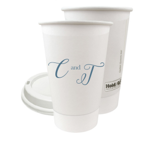 ForYourParty's elegant Matte Stone Blue Ink 8 oz Paper Coffee Cup with Lid with Matte Stone Blue Ink Cup Ink Colors will make your guests swoon. Personalize your party's theme today.