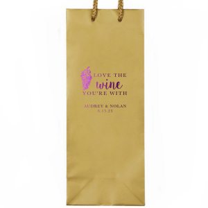 ForYourParty's personalized White Wine Gift Bag with Shiny Amethyst Foil Color has a Grapes graphic and is good for use in Wine themed parties and will look fabulous with your unique touch. Your guests will agree!