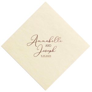 Our custom Ivory Cocktail Napkin with Shiny Merlot Foil will make your guests swoon. Personalize your party's theme today.