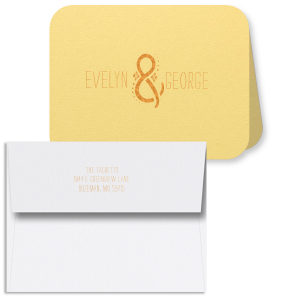 Custom Poptone Mimosa Classic Note Card with Envelope with Shiny Copper Foil has a Decorative Ampersand graphic and is good for use as wedding thank you notes, or even a gift for bride and groom! It's time to show off your impeccable taste.