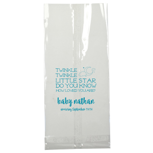 Send guests home with personalized favor bags as sweet as the soon-to-be-arriving baby! The whimsical serif and bold modern script on this Twinkle, Twinkle design, plus our Night Sky graphic will make a darling presentation of your baby shower thank you gifts.