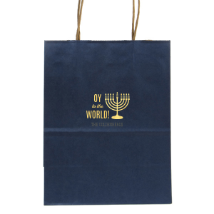 ForYourParty's elegant Metallic Blue Gift Bag with Shiny Sky Blue Foil Color has a Menorah graphic and is good for use in Jewish, Holiday themed parties and can't be beat. Showcase your style in every detail of your party's theme!