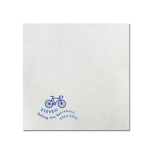 ForYourParty's personalized Watercolor Ocean Cocktail Napkin with Shiny Royal Blue Foil has a Biking 2 graphic and is good for use in Travel, Sports themed parties and can't be beat. Showcase your style in every detail of your party's theme!
