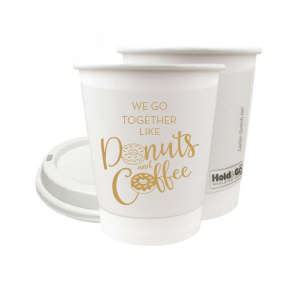 Personalized 8 oz Paper Coffee Cup with Lid with Gold Ink Cup Ink Print has a Donuts and Coffee graphic and is good for use in Food, Drinks, Trendy themed parties and can be personalized to match your party's exact theme and tempo.