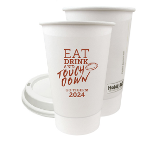 ForYourParty's chic Matte Brick Ink 8 oz Paper Coffee Cup with Lid with Matte Brick Ink Cup Ink Colors has a Football graphic and is good for use in Sports themed parties and will make your guests swoon. Personalize your party's theme today.