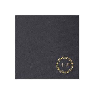 ForYourParty's elegant White Linen Like Grande Napkin with Shiny Kiwi / Lime Foil has a Leaf Frame 5 graphic and is good for use in Garden or Floral themed parties and can be customized to complement every last detail of your party.