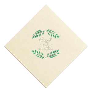The ever-popular Ivory Borderless Photo/Full Color Cocktail Napkin with Matte Spruce Digital Ink will give your party the personalized touch every host desires.