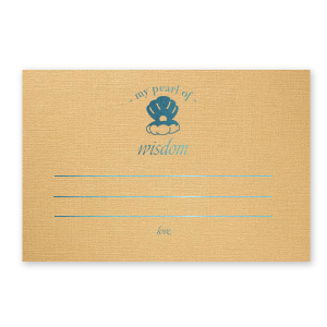 ForYourParty's elegant Linen Pearl Gold Recipe Card with Shiny Turquoise Foil has a Oyster graphic and is good for use in Bridal shower, Beach/Nautical themed parties and will make your guests swoon. Personalize your party's theme today.