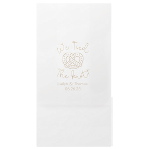 Our custom White Party Bag with Shiny Champagne Foil has a Pretzel graphic and is good for use in Food, Kid Birthday themed parties and will impress guests like no other. Make this party unforgettable.