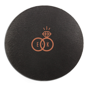 ForYourParty's personalized Eggshell Round Coaster with Satin Copper Penny Foil Color has a Wedding Rings 2 graphic and is good for use in Wedding themed parties and will make your guests swoon. Personalize your party's theme today.