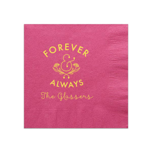 ForYourParty's personalized Fuchsia Cocktail Napkin with Matte Mimosa Yellow Foil has a Accent Ampersand graphic and is good for use in Wedding, Engagement, Bridal Shower and Anniversary themed parties and will add that special attention to detail that cannot be overlooked.