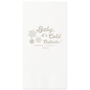 ForYourParty's elegant White Cocktail Napkin with Shiny Sterling Silver Foil has a Snowflake Cluster graphic and is good for use in Delphine, Snowy, Winter, Holiday themed parties and couldn't be more perfect. It's time to show off your impeccable taste.