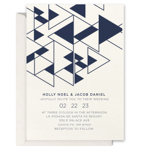 ForYourParty's chic Lettra Pearl White 110lb Invitation with Navy Ink Letterpress Inks has a Triangles2Invitation graphic and is good for use in Aztec and Geometric themed weddings and couldn't be more perfect. It's time to show off your impeccable taste.