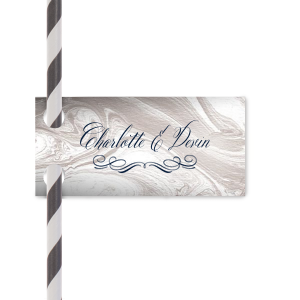 ForYourParty's personalized Marble Taupe Double Point Straw Tag with Matte Navy Foil has a Flourish 17 graphic and can be customized to complement every last detail of your party.