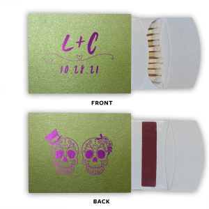 ForYourParty's personalized Poptone Kiwi Classic Matchbox with Shiny Amethyst Foil has a Simple Heart Flourish graphic and a Sugar Skulls graphic and is good for use in Halloween themed parties and are a must-have for your next event—whatever the celebration!