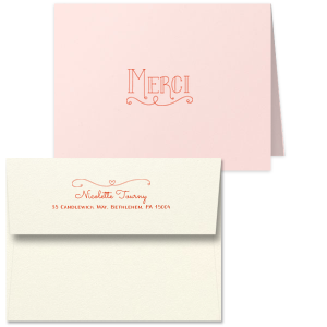 ForYourParty's elegant Poptone Peach Classic Note Card with Envelope with Satin Lipstick Red Foil has a Merci graphic and a Simple Heart Flourish graphic and is good for use as a thank you note Weddings, Showers, Birthdays and more. Add your unique touch and your guests swoon!