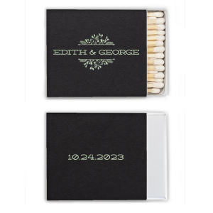 Our Green Tea foil and Floral Frame make these matches perfect personalized party favors for a summer or spring wedding. Customize for a memorable wedding, engagement or anniversary favor that your guests will love using.