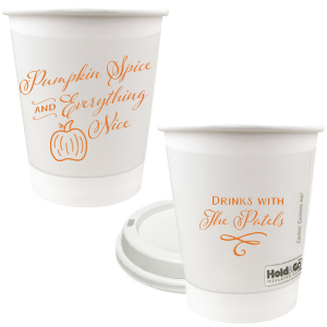 Our custom 8 oz Paper Coffee Cup with Lid with Matte Tangerine Ink has a Pumpkin graphic and is good for use in Thanksgiving and Halloween themed parties and will impress guests like no other. Make this party unforgettable.