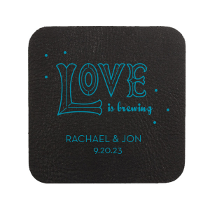 Love is brewing! Let your personality shine at the bar with custom wedding coasters that fit your theme perfectly. Personalize our Love word art with your foil color of choice, names and wedding date for a darling detail.