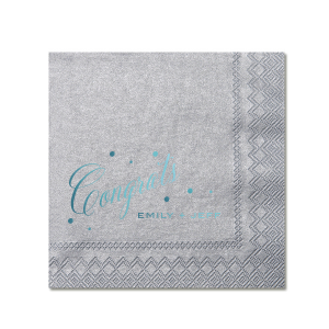 Custom Dove Gray Cocktail Napkin with Shiny Turquoise Foil are a must-have for your next event—whatever the celebration!
