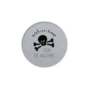 The ever-popular Classic Crest White Round Label with Matte Black Ink Color has a Skull & Crossbones graphic and is good for use in Halloween themed parties and can be customized to complement every last detail of your party.