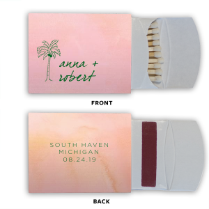 Our custom Watercolor Rose Classic Matchbox with Shiny Leaf Foil has a Palm Tree graphic and is good for use in Beach/Nautical, Floral themed parties and are a must-have for your next event—whatever the celebration!