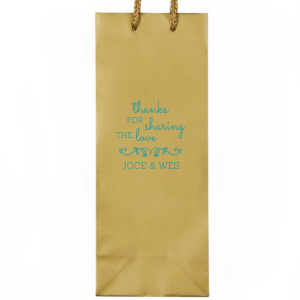 ForYourParty's personalized Gold Wine Euro Bag with Matte Teal/Peacock Foil Color has a Budding Flourish graphic and is good for use in Wedding themed parties and can be customized to complement every last detail of your party.