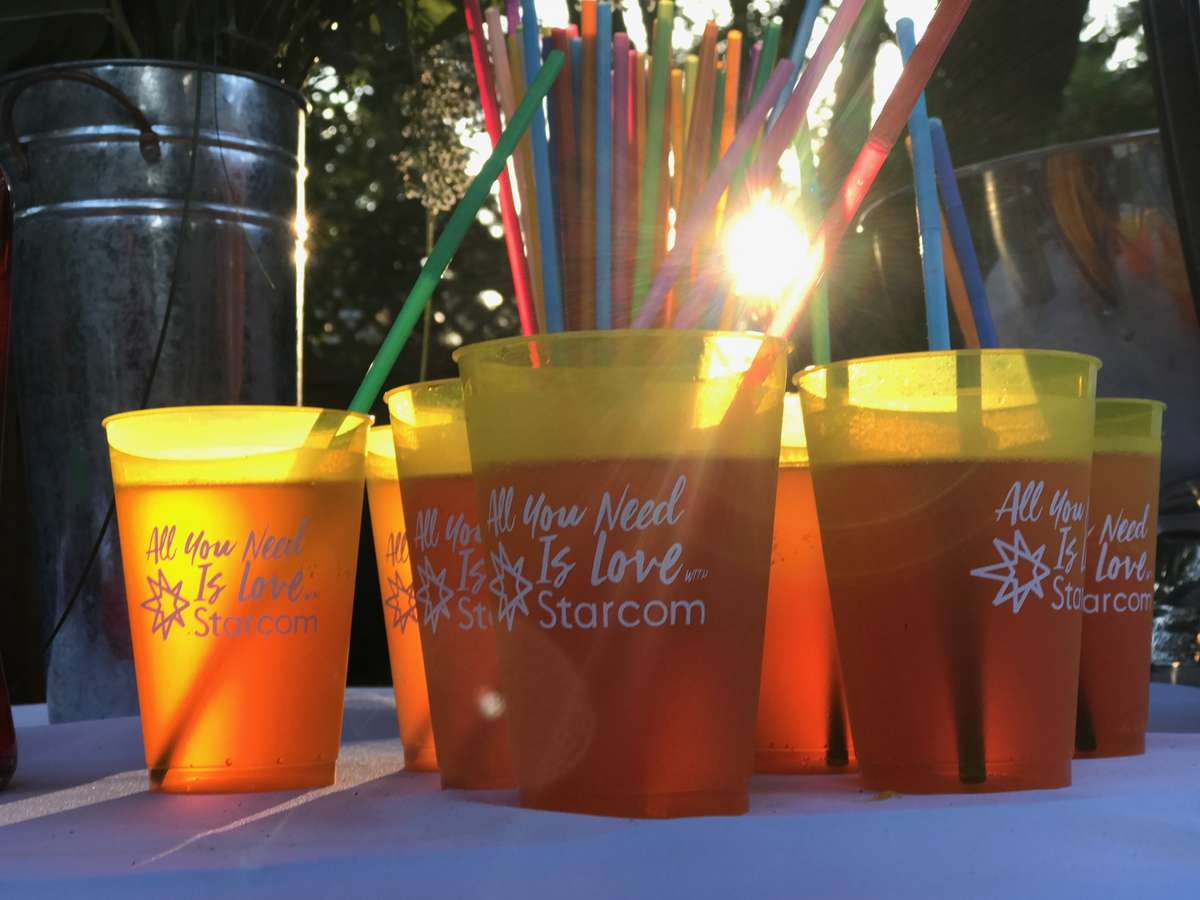 custom cups in a bright yellow