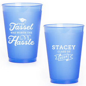 ForYourParty's elegant Gold Ink 12 oz Frosted Plastic Cup with Gold Ink Cup Ink Colors has a Cap graphic and a Banner graphic and is good for use in Accents, Frames themed parties and will impress guests like no other. Make this party unforgettable.