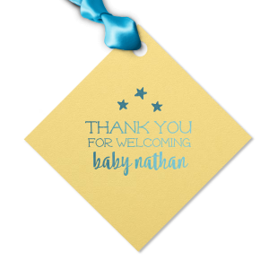 Say thank you with personalized gift tags as sweet as the soon-to-be-arriving baby! The whimsical serif font, bold modern script and cute little stars on this yellow tag with blue ribbon will make a darling finish to your baby shower party favors.