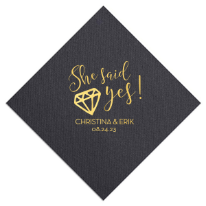 ForYourParty's elegant Black Cocktail Napkin with Shiny 18 Kt Gold Foil has a Diamond graphic and is good for use in Wedding, Bridal Shower themed parties and can be customized to complement every last detail of your party.