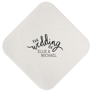 "Script Wedding - White - Square Coasters - Personalized - Set of 75 - 4 x 4"""" by ForYourParty.com"