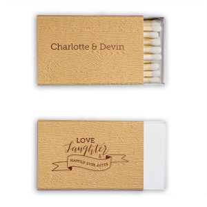 Our custom Kraft Wood Classic Matchbox with Shiny Merlot Foil has a Love Laughter Banner graphic and is good for use in Words, Wedding, Bridal Shower themed parties and can be customized to complement every last detail of your party.
