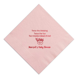 Custom Pastel Pink Linen Like Cocktail Napkin with Shiny Convertible Red Foil has a Twins graphic and is good for use in Baby Shower themed parties and will add that special attention to detail that cannot be overlooked.