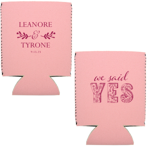 Our custom White Slim Can Cooler with Matte Dark Magenta Ink has a Twig Flourish graphic and a Yes graphic and is good for use in Wedding themed parties and will look fabulous with your unique touch. Your guests will agree!