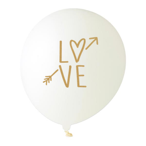 Our custom White Designer Balloon with Satin Gold Ink Color has a Love graphic and is good for use in Words themed parties and are a must-have for your next event—whatever the celebration!