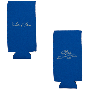ForYourParty's chic Navy Flat Can Cooler with Copper Ink Cup Ink Colors has a Love Laughter Banner graphic and is good for use in Words, Wedding, Bridal Shower themed parties and will impress guests like no other. Make this party unforgettable.