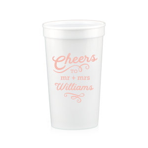 ForYourParty's elegant Silver 16 oz Stadium Cup with Matte Pastel Pink Ink Cup Ink Colors can be customized to complement every last detail of your party.