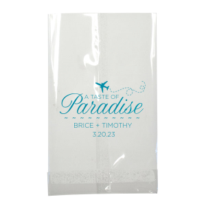 Featuring our Airplane graphic in Teal foil, this bag is ideal for your destination wedding dessert bar. Personalize with your names and date for a beachy touch.