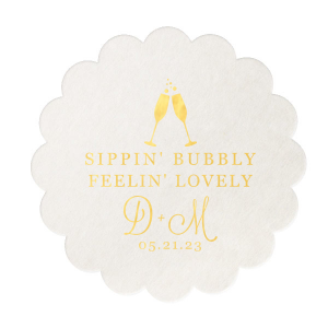 Our personalized White Square Coaster with Shiny 18 Kt Gold Foil has a Flutes 2 graphic and is good for use in Drinks, Wedding, Holiday themed parties and will look fabulous with your unique touch. Your guests will agree!